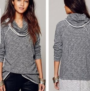 Free People cacoon cowl neck distressed lightweigh